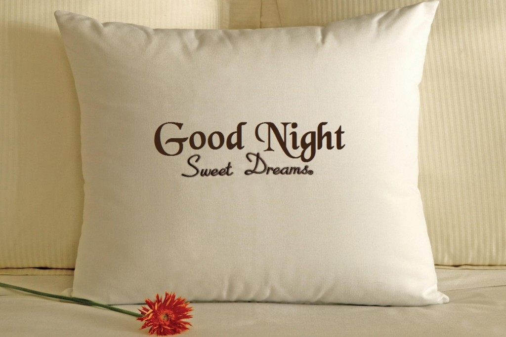 White-Pillow-And-On-Bed-Flower-Good-Night-Image